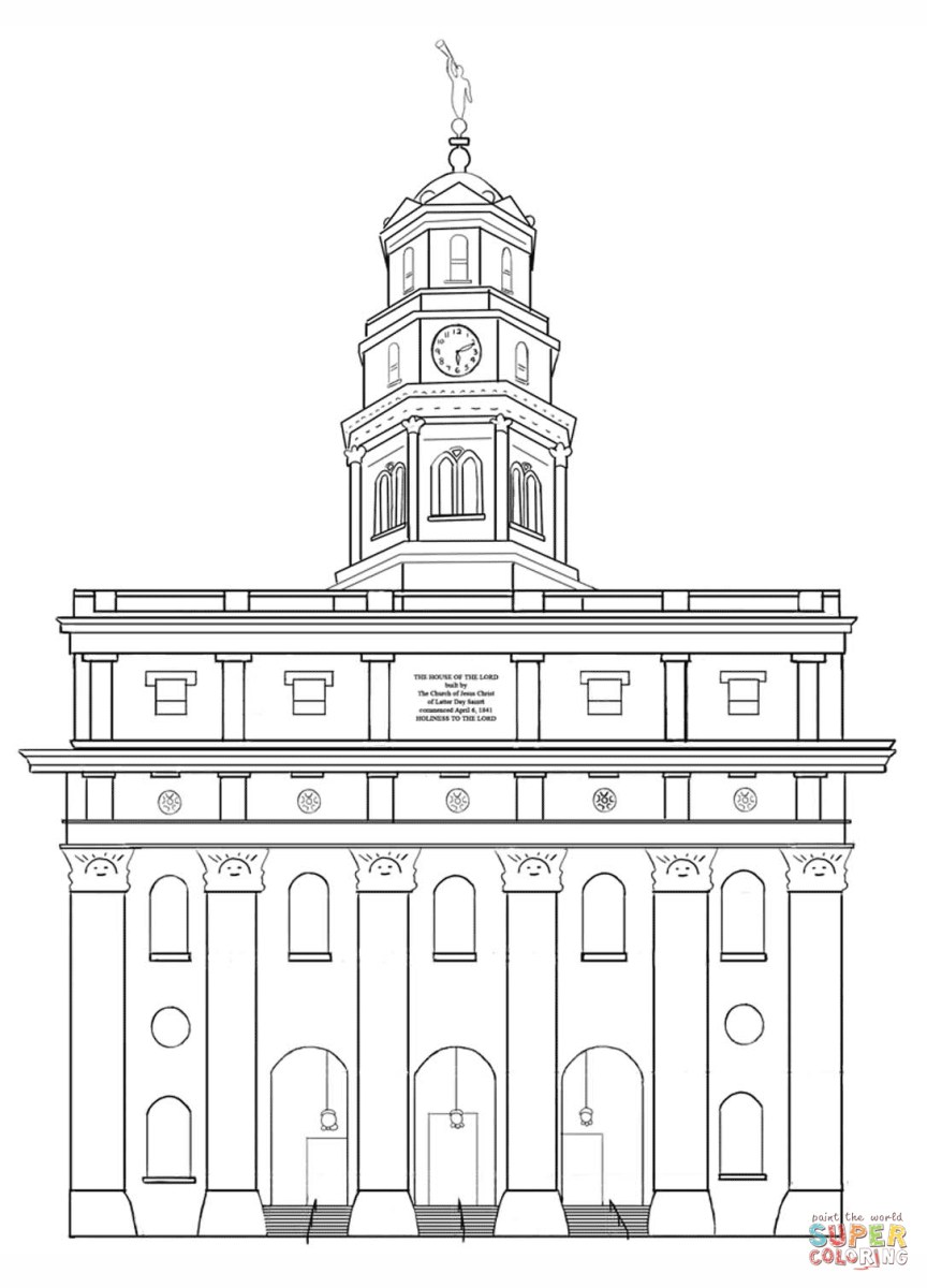 Temple Coloring Page Nauvoo Lds Temple Coloring Page Free Printable Coloring Pages