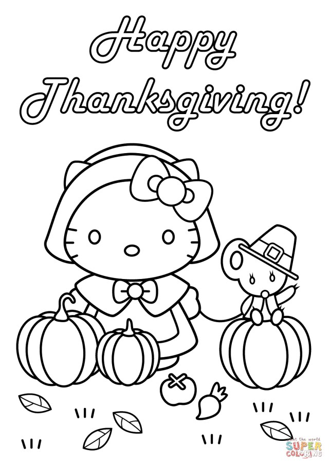 Thanksgiving Coloring Pages For Kids Hello Kitty Happy Thanksgiving Coloring Page Free Printable
