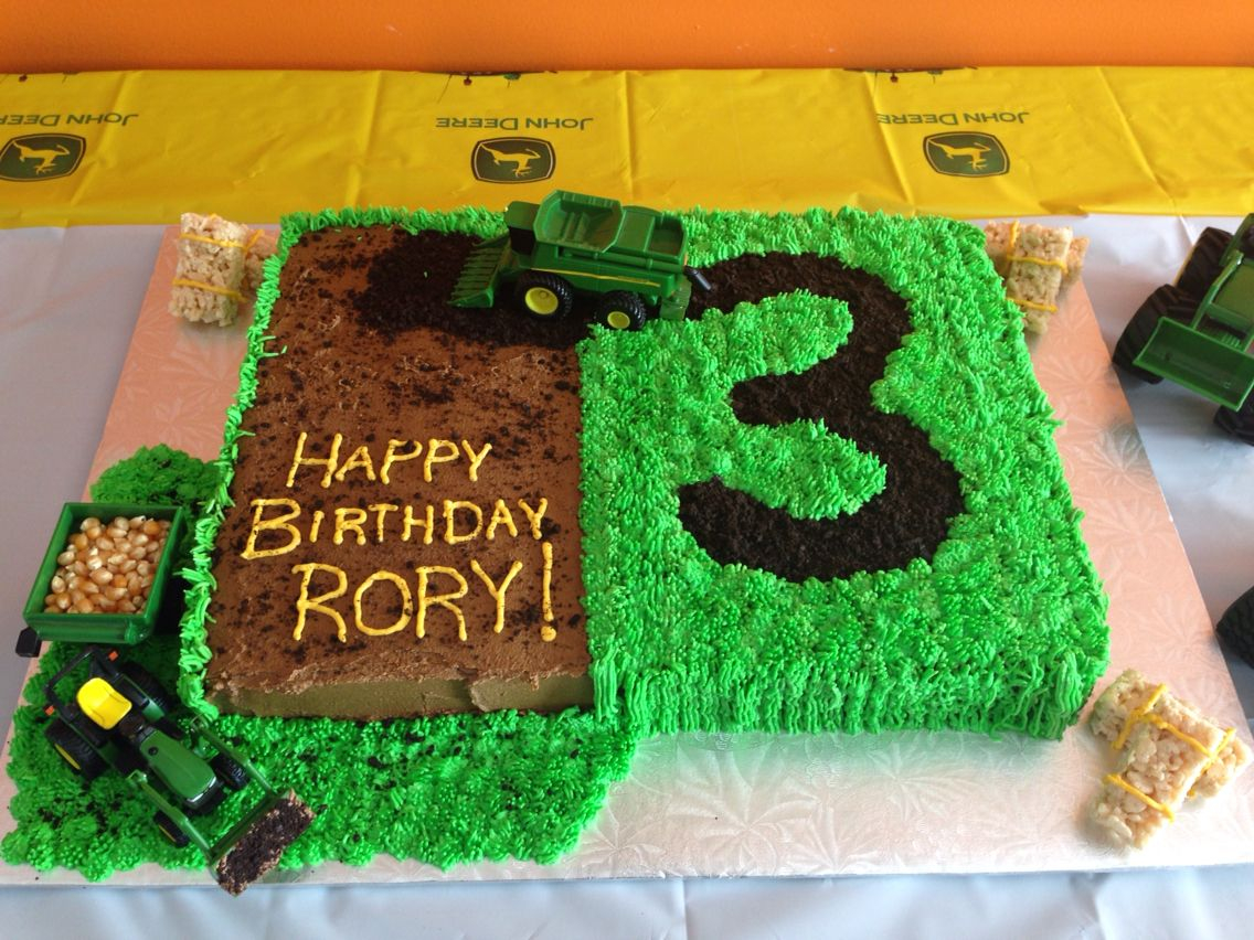 Terrific Tractor Birthday Cakes John Deere Cake With A Tractor And Combine Funny Birthday Cards Online Elaedamsfinfo