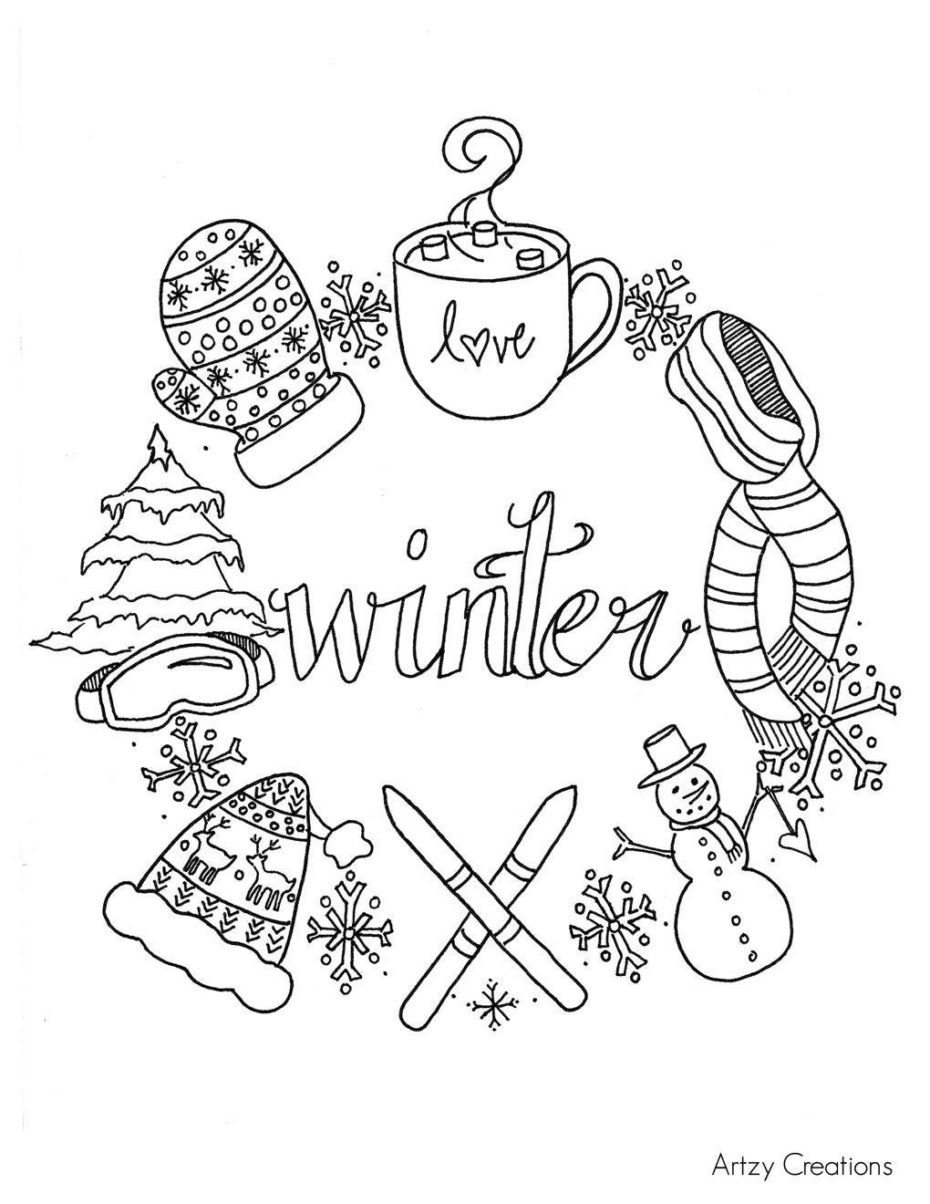 photograph relating to Winter Coloring Pages Printable known as Inventive Photograph of Wintertime Coloring Web pages For Young children -