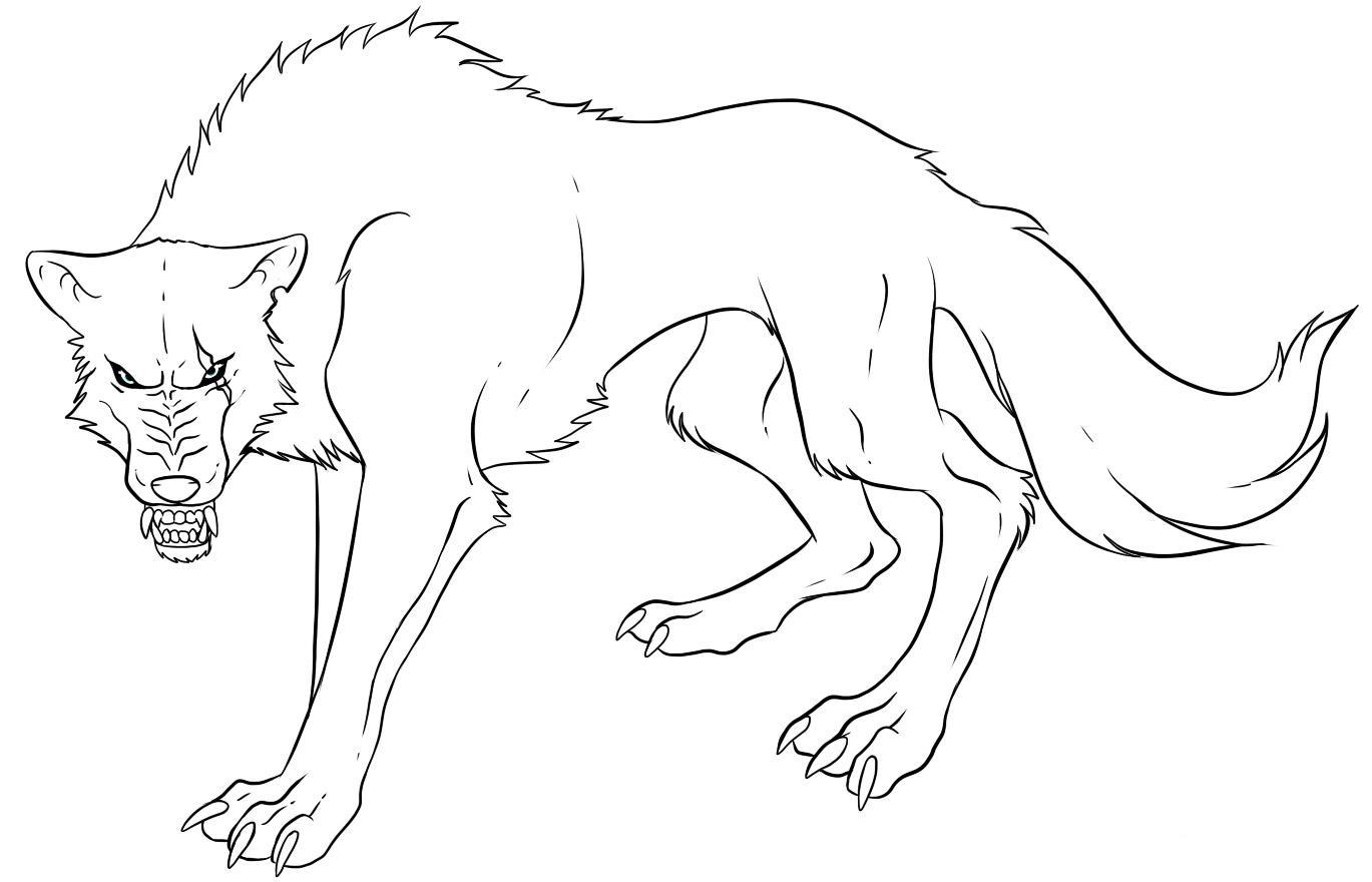 It is a picture of Printable Wolf Coloring Pages regarding traceable