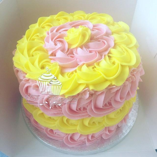 Yellow Birthday Cake Pink And Yellow Cake Smash Cake Sophies 1st Bday Ideas