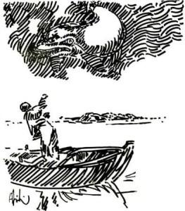 Abidin Dino - Deniz Küstü için yaptığı çizimlerden