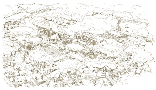 Cushing Campus Aerial Perspective Map - Pencil