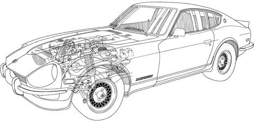 1972 Datsun 240Z - Technical Cutaway Illustration