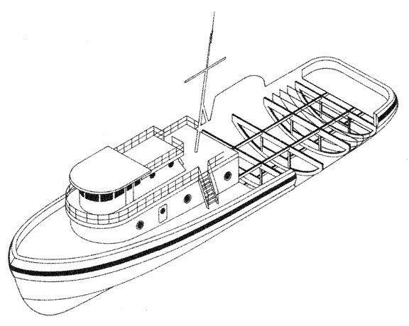 Isometric Line Drawing of Tugboat