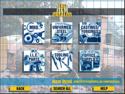 The Item Catalog - Main Menu Screen