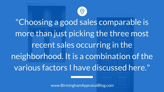 Sales comparable selection