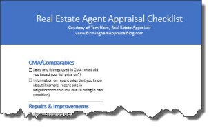 Real Estate Agent Appraisal Checklist torn