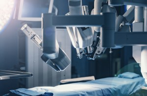 Surgical room in hospital with robotic technology equipment