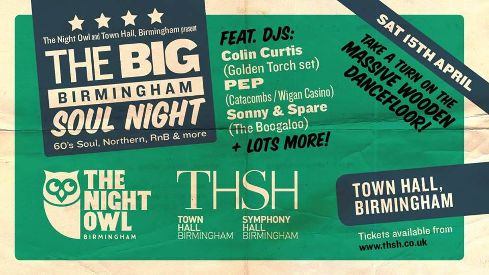 BPREVIEW: The Big Birmingham Soul Night @ Town Hall 15.04.17