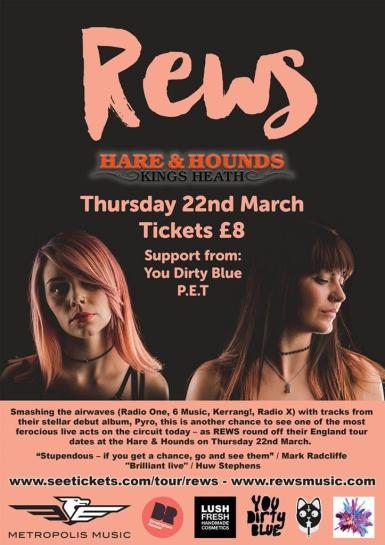 Rews + You Dirty Blue, P.E.T @ Hare & Hounds 22.03.18