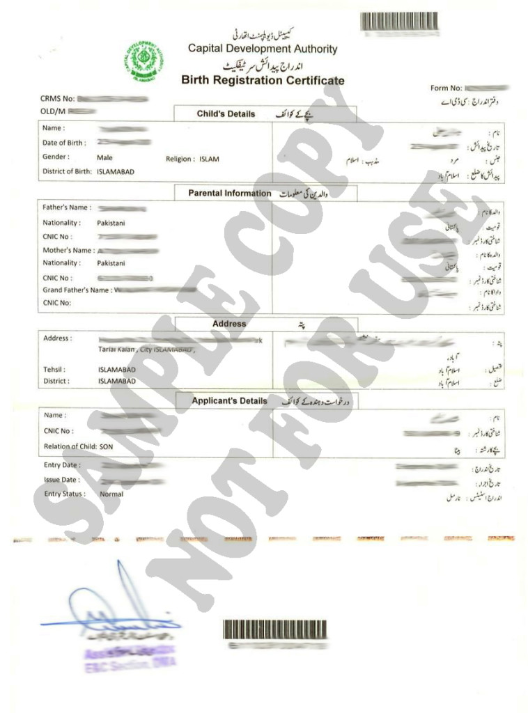 birth registration certificate nadra for Canada