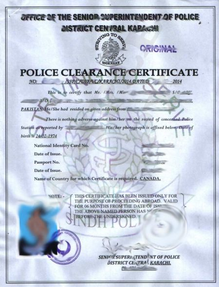 Police clearance certificate pakistan format birth certificate police certificate centeral karachi sample yadclub Image collections