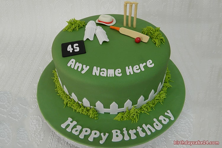 Birthday Cricket Sports Cake With Your Name