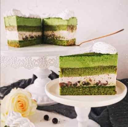 Green Tea Red Bean Mousse Cake