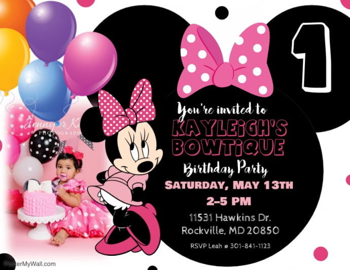 minnie mouse first birthday invitation