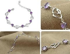 Sterling-Silver-Double-Purple-Heart-Bracelet