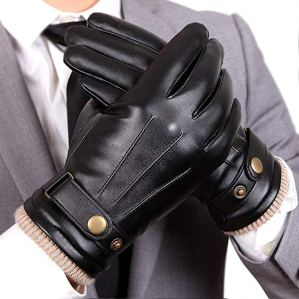Warm Touchscreen Texting Faux PU Leather Gloves
