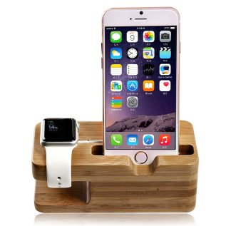 Wooden Phone Docking Station and Watch Stand