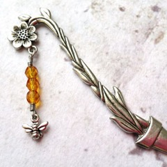 Handcrafted Bronze Bookmark With Kneaded Bumblebees