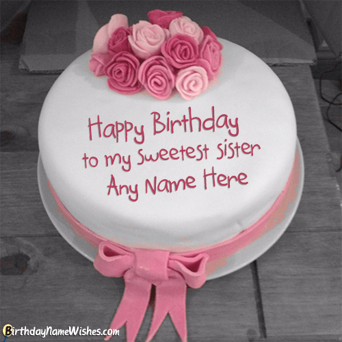 Pink Roses Birthday Cake For Sister With Name Generator