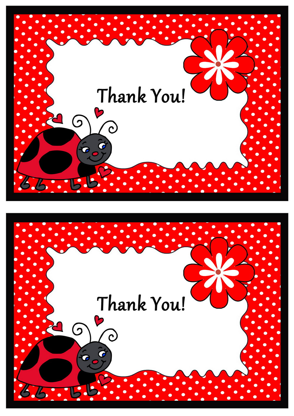 Ladybug Thank You Cards Birthday Printable