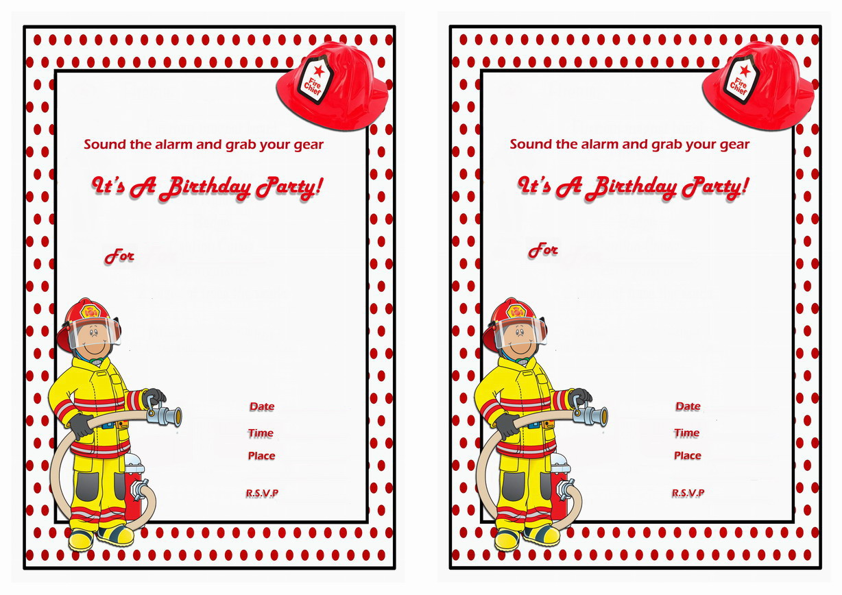 Firefighters Birthday Invitations