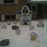 Gorilla Lawn Sign in Snow