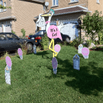 Stork Lawn Sign Rental for a Girl Display