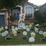 Champagne Bottle Lawn Greeting Display