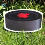 Canadian Hockey Puck Lawn Ornament
