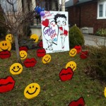 Betty Lawn Sign with Lips and Smiley faces Lawn Ornaments