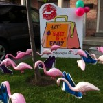 Purse Lawn Sign with Pink Flamingos