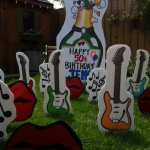Champagne Bottle With Guitar , Lips and Musical Notes lawn Ornaments