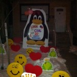 Penguin lawn signs with Frogs and Smiley faces