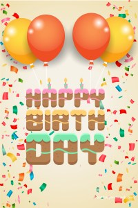 high quality happy birthday image with yellow and orange balloons