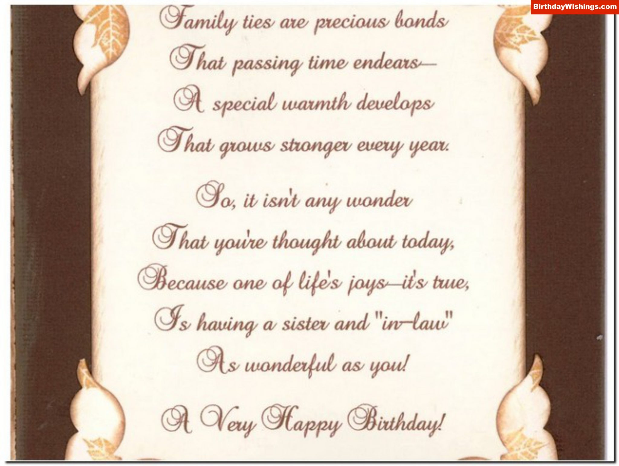 Birthday Poem For Sister In Law Birthdaywishings Com
