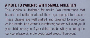 a note to parents with small children