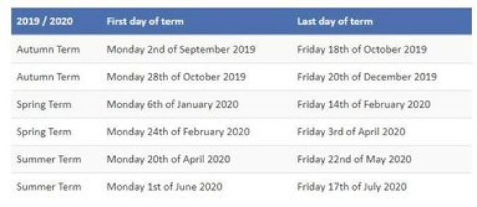 Term Dates | Birtley East Primary School