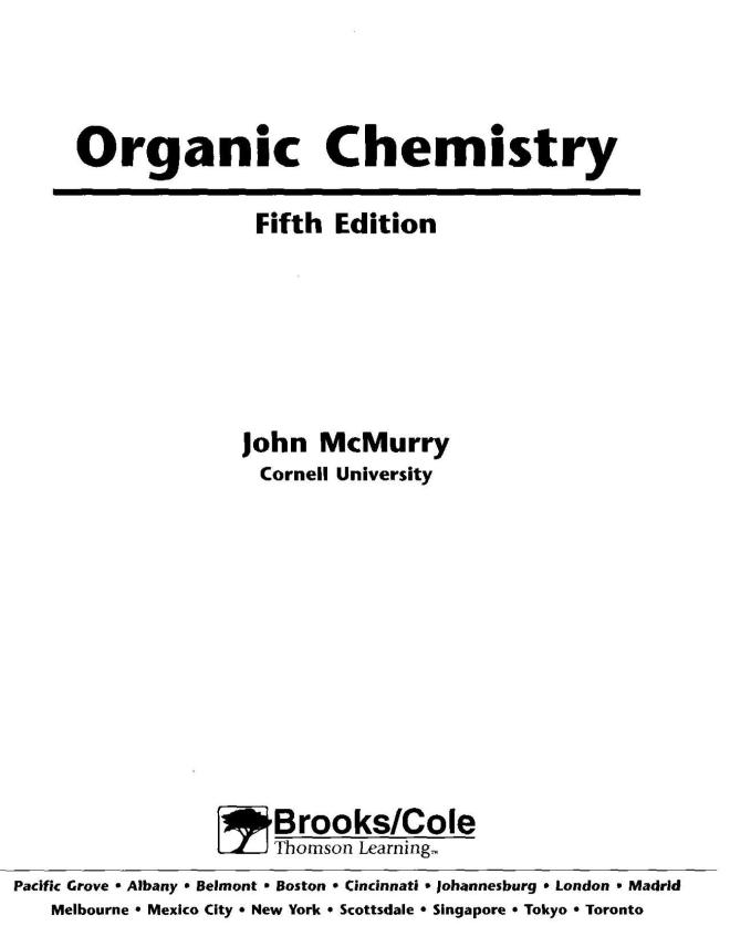 Free Ebook : Organic Chemistry 5th Ed - John Mcmurry