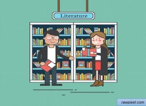Ilustrasi lemari buku