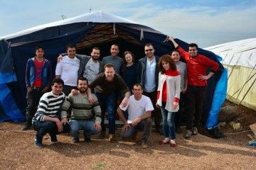 SCI Office came out to build the tent, Newroz Camp