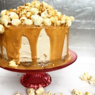 Salted caramel cheesecake topped with popcorn