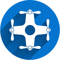 blue drone icon for aerial drone filming services page
