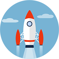 icon of rocket for quick delivery of event filming services