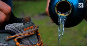 image of water repellent shoes that Hi Tec's viral marketing is trying to promote.