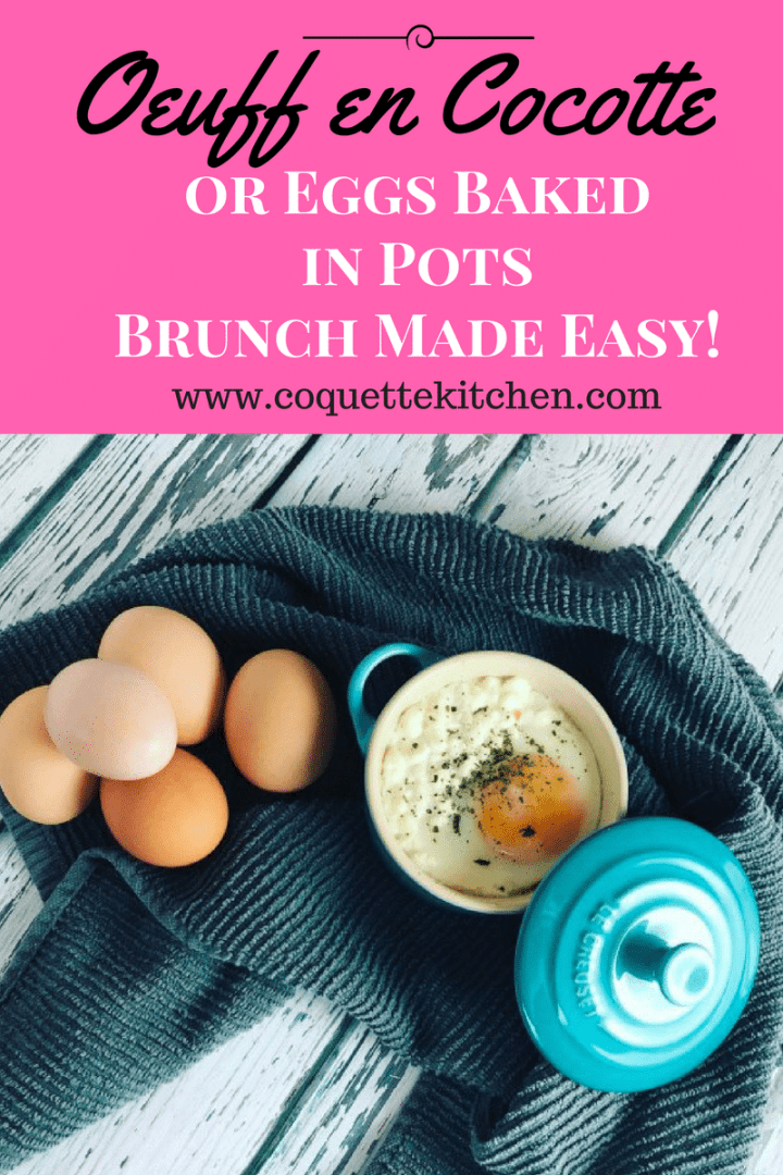 This easy oeuf en cocotte, or baked eggs dish, can be made ahead of time and is sure to be both delicious and impressive for your next brunch. www.biscuitsandbooze.com