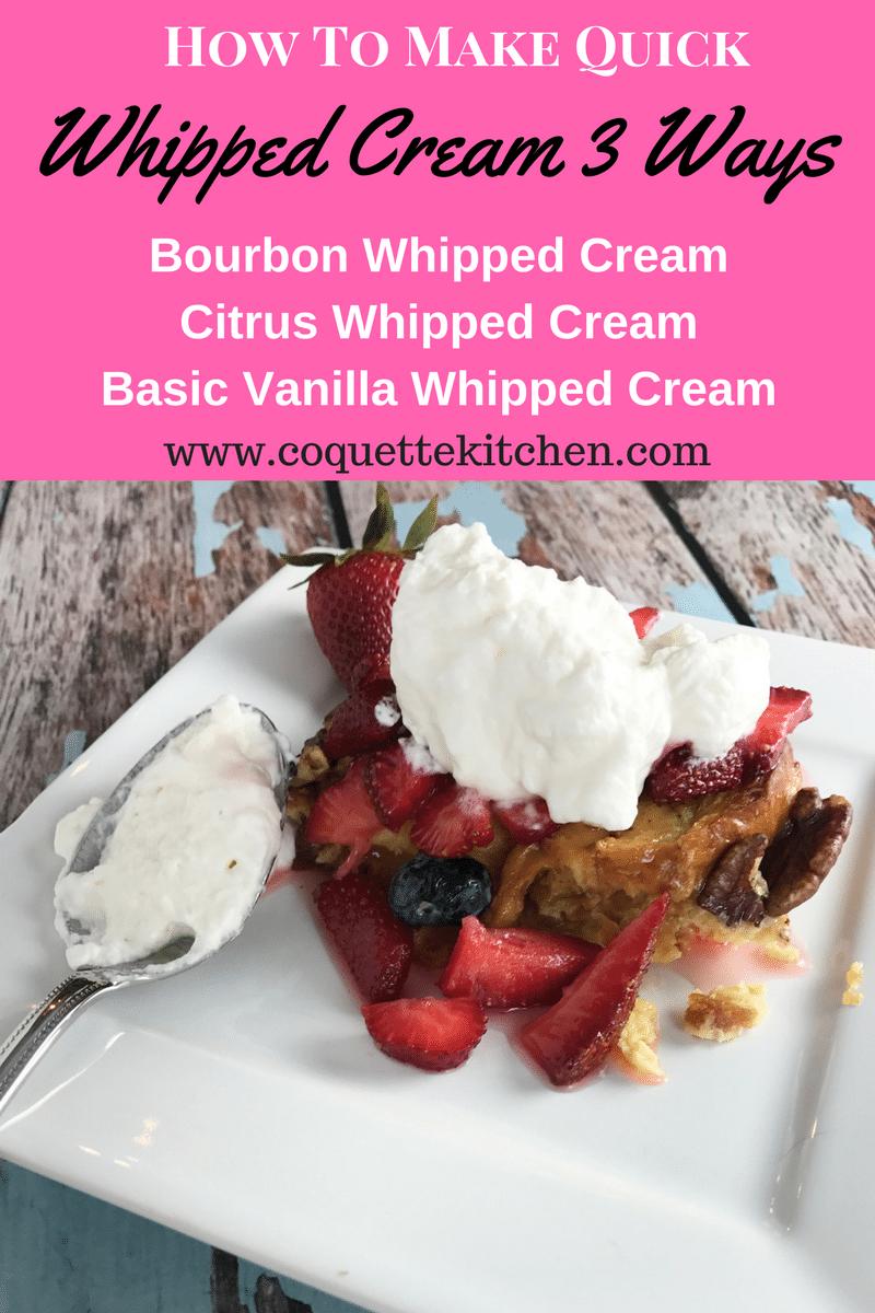 How to Make Quick Homemade Whipped Cream Three Ways www.biscuitsandbooze.com