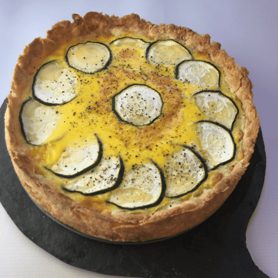 Roasted Silver Queen Corn, Zucchini, & Goat Cheese Summer Quiche